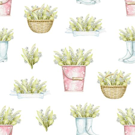 Seamless pattern with wicker baskets, buckets and rubber boots with bouquet with lilies of the valley isolated on white background. Hand drawn illustration Stock fotó