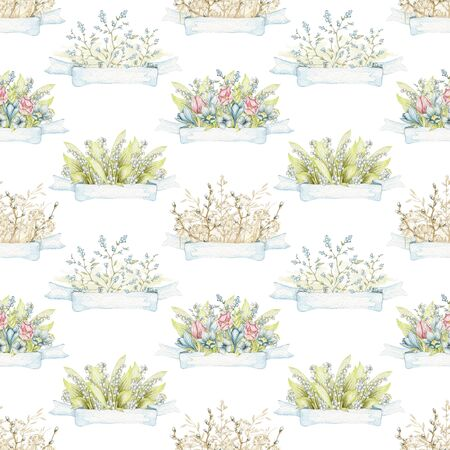Seamless pattern with compositions with vintage spring flowers and blue banner isolated isolated on white background . Watercolor hand drawn illustration