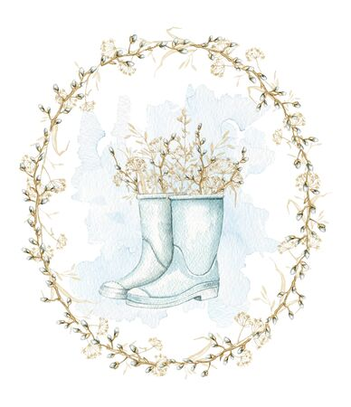 Vintage composition with blue gumboots with spring willow branches, buds and dry herbs herbarium on oval frame. Watercolor hand drawn illustration