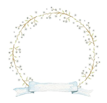Round frame with vintage graceful spring branches of apple, cherry, plum with flowers and blue banner ribbon isolated on white background. Watercolor hand drawn illustration