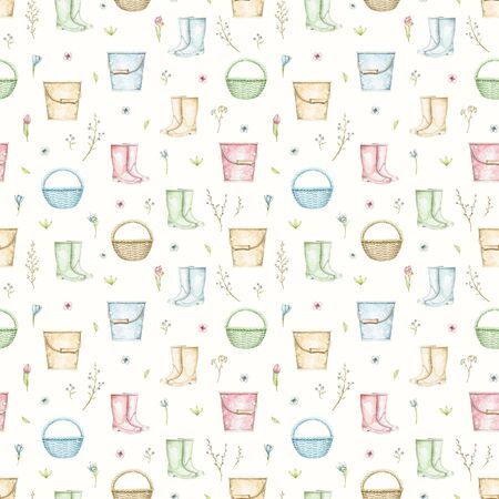 Seamless pattern with multicolor wicker baskets, buckets, rubber boots, twigs and flowers isolated on beige background. Hand drawn illustration Stock fotó