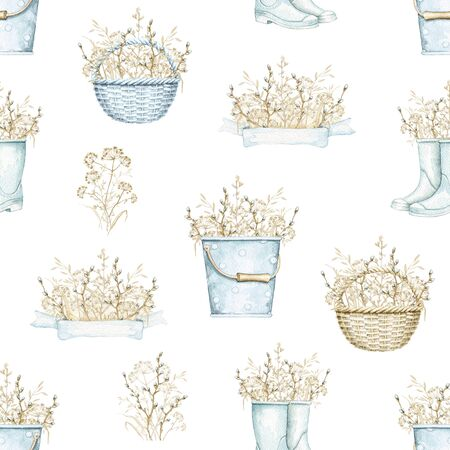 Seamless pattern with blue wicker baskets, buckets and rubber boots with bouquet with vintage graceful dry herbs herbarium. Watercolor hand drawn illustration