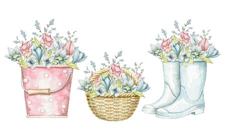 Set with bucket, wicker basket and gumboots with bouquet vintage spring flowers isolated on white background. Watercolor hand drawn illustration Stock fotó