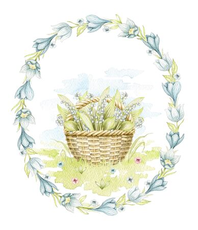 Vintage wicker basket with bouquet lilies of the valley on floral meadow in oval frame with flowers. Watercolor hand drawn illustration Stock fotó