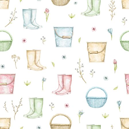 Seamless pattern with multicolor wicker baskets, buckets, rubber boots, twigs and flowers isolated on white background. Hand drawn illustration
