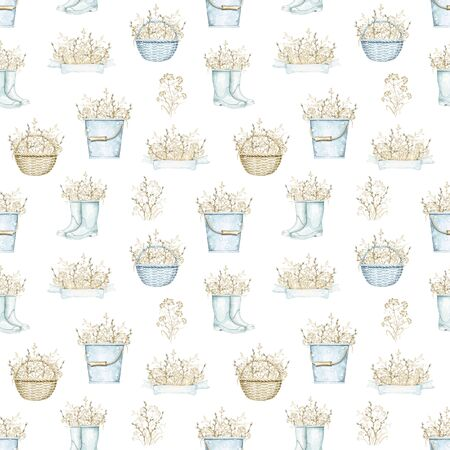 Seamless pattern with blue wicker baskets, buckets and rubber boots with bouquet with vintage graceful dry herbs herbarium. Watercolor and drawn illustration Stock fotó