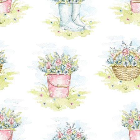 Seamless pattern with wicker baskets, buckets and rubber boots with spring flowers bouquet on floral meadow. Hand drawn illustration