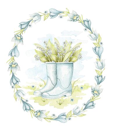Vintage blue gumboots with bouquet lilies of the valley on floral meadow in oval frame with flowers. Watercolor hand drawn illustration