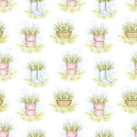 Seamless pattern with wicker baskets, buckets and rubber boots with bouquet with lilies of the valley on floral meadow. Watercolor hand drawn illustration