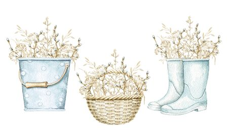 Set with bucket, wicker basket and gumboots with bouquet vintage spring dry herbs, willow branches and twigs isolated on white background. Watercolor hand drawn illustration