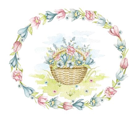 Vintage wicker basket with spring bouquet on floral meadow in oval frame with flowers. Watercolor hand drawn illustration Stock fotó