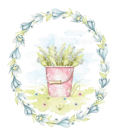 Vintage pink bucket with polka dot pattern and with bouquet lilies of the valley in oval frame on floral meadow. Watercolor hand drawn illustration Stock fotó