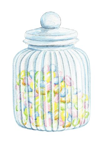 Glass jar for sweets with colorful candies isolated on white background. Watercolor hand drawn illustration