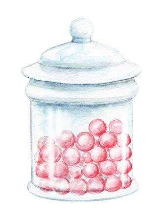 Glass jar for sweets with pink round candies isolated on white background. Watercolor hand drawn illustration