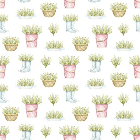 Seamless pattern with wicker baskets, buckets and rubber boots with bouquet with lilies of the valley isolated on white background. Watercolor hand drawn illustration
