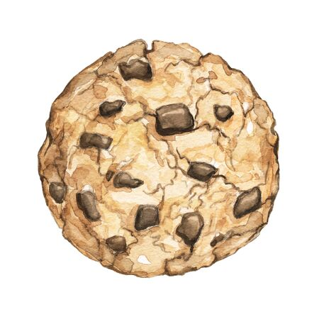 Home made chocolate chip cookie isolated on white background. Watercolor hand drawn illustration