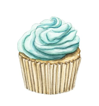 Muffin with mint cream isolated on white background. Watercolor hand drawn illustration Stock fotó
