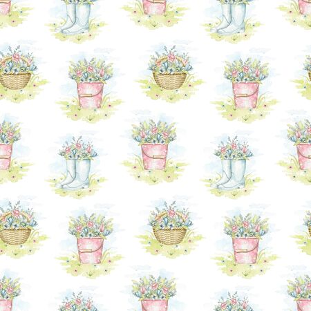 Seamless pattern with wicker baskets, buckets and rubber boots with spring flowers bouquet on floral meadow. Watercolor hand drawn illustration