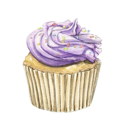 Muffin with violet cream and multi-colored topping isolated on white background. Watercolor hand drawn illustration
