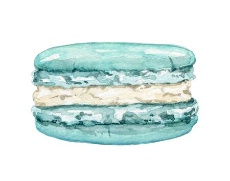 One mint green macaroon isolated on white background. Watercolor hand drawn illustration
