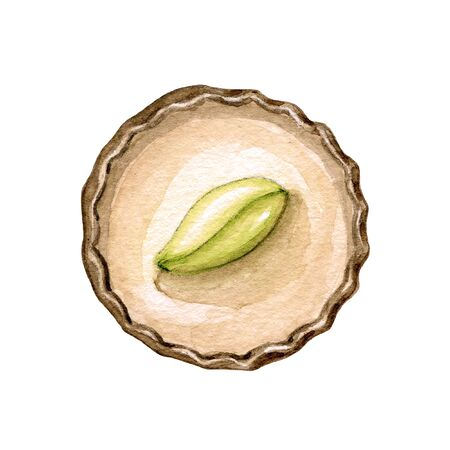 One round chocolate candy with pistachio nut and cream isolated on white background. Watercolor hand drawn illustration