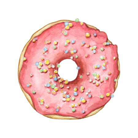 One round donut with pink glaze and colorful topping isolated on white background. Watercolor hand drawn illustration