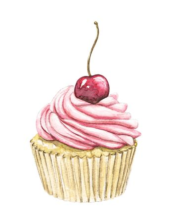 Muffin with pink cream and berry cherry isolated on white background. Watercolor hand drawn illustration