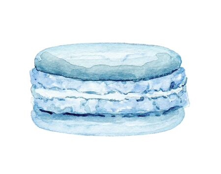 One blue macaroon isolated on white background. Watercolor hand drawn illustration
