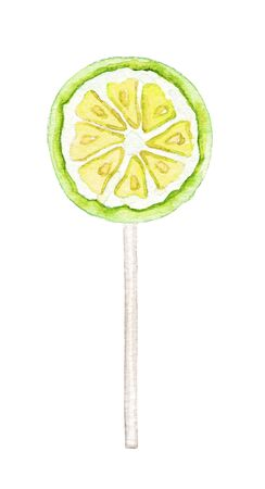 One yellow and green round lollipop slice of citrus in stick isolated on white background. Watercolor hand drawn illustration Stockfoto