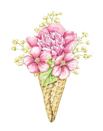 Bouquet with pink flowers and foliage in waffle cone isolated on white background. Watercolor hand drawn illustration