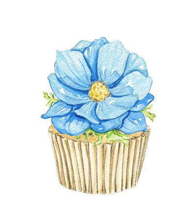Blue one flower on cupcake isolated on white background. Watercolor hand drawn illustration