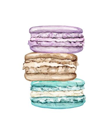 Composition pile with three various colors cakes macaroons isolated on white background. Watercolor hand drawn illustration