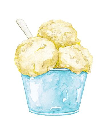 Yellow ice cream in blue cup with spoon isolated on white background. Watercolor hand drawn illustration