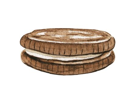 One chocolate round cookie sandwich isolated on white background. Watercolor hand drawn illustration