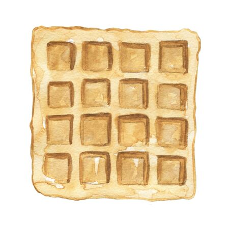 One square waffle isolated on white background. Watercolor hand drawn illustration