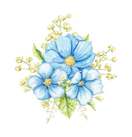 Floral bouquet composition with three blue flowers and greenery isolated on white background. Watercolor hand drawn illustration Stockfoto