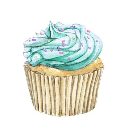 Muffin with mint green cream and multi-colored topping isolated on white background. Watercolor hand drawn illustration