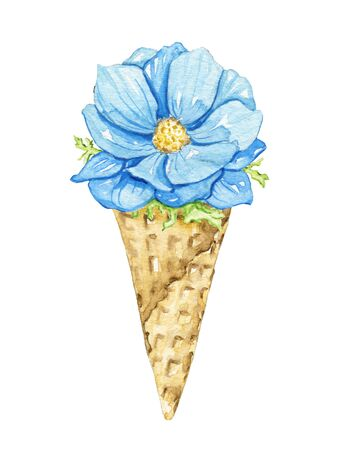 One blue flower and foliage in waffle cone isolated on white background. Watercolor hand drawn illustration