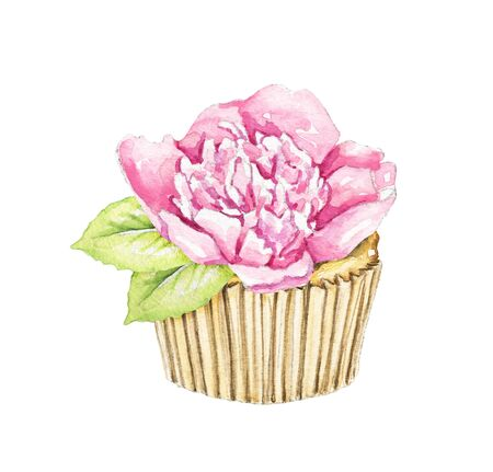 Muffin with pink peony flower isolated on white background. Watercolor hand drawn illustration