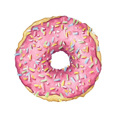 One round donut with pink glaze and multicolor topping isolated on white background. Watercolor hand drawn illustration