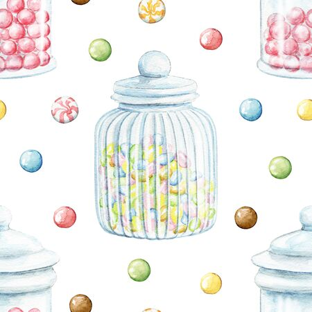 Seamless pattern with multicolor dragee candies and glass jars for sweets isolated on white background. Watercolor hand drawn illustration