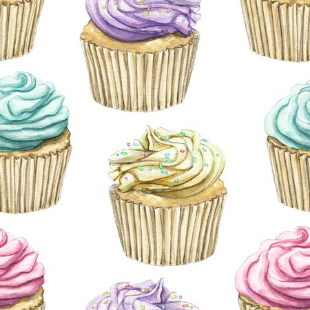 Seamless pattern with multicolor various color muffins with cream isolated on white background. Watercolor hand drawn illustration Stok Fotoğraf