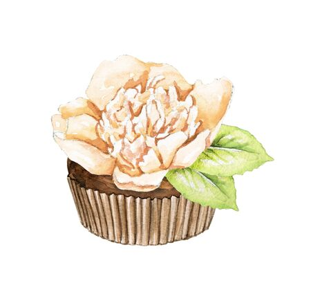 Muffin with beige peony flower isolated on white background. Watercolor hand drawn illustration Stok Fotoğraf