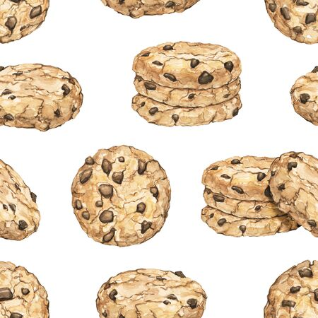 Seamless pattern with home made chocolate chip cookies isolated on white background. Watercolor hand drawn illustration Stok Fotoğraf