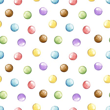 Seamless pattern with multicolor dragee candies isolated on white background. Watercolor hand drawn illustration