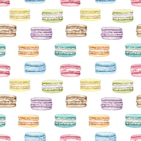 Seamless pattern with multicolor various color cake macaroon isolated on white background. Watercolor hand drawn illustration