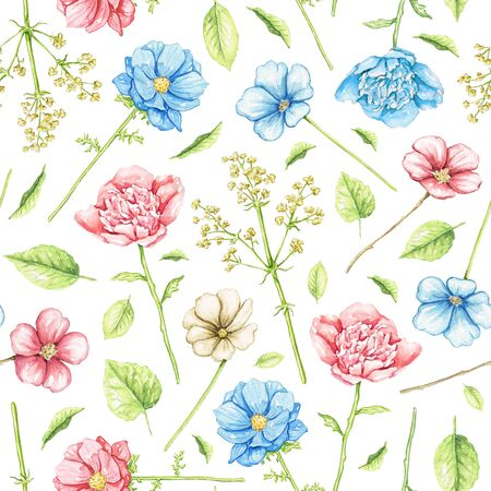 Seamless pattern with blue and pink flowers isolated on white background. Watercolor hand drawn illustration
