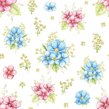 Seamless pattern with vintage greenery, blue and pink flowers isolated on white background. Watercolor hand drawn illustration