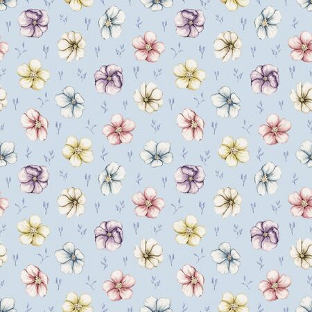 Seamless pattern with vintage chubby violet flowers isolated on blue background. Watercolor hand drawn illustration
