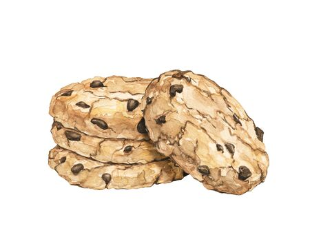 Stack of four home made chocolate chip cookies isolated on white background. Watercolor hand drawn illustration